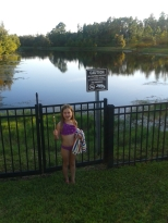 Swimming pool on one side. Alligators on the other