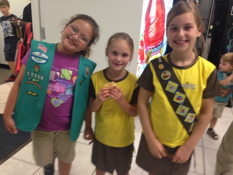Mia (a Girl Scout) with Eleanor and Hannah