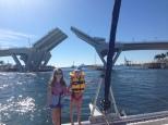 The bridge of the inner waterway lifting