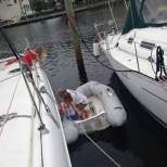 The Watermaker - drilling a hole in the side of the boat with a little help from the girls.