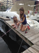 The girls practising with their rods.