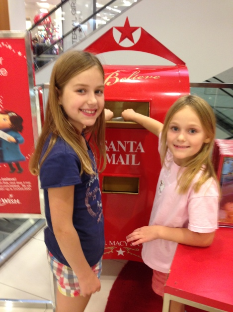 Delivering letters to Santa at Macys - very important!