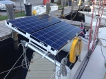 Solar panels finally fitted at the stern.