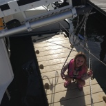 Hannah trying out the floating dock.