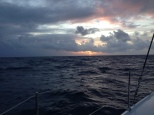 The first of many sunrises at sea.