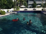 Enjoying the pool at Valentine's Marina and managing to get rid of all the sand from the beach!
