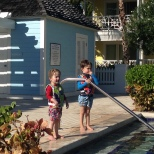 Thomas and Benjamin about to take the plunge.