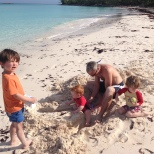 Important structural sand work with Thomas, Benjamin, Alexander and Daddy.