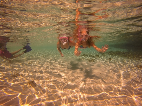 Snorkelling from the beach.