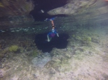 E exiting the Grotto by one of the three underwater exits