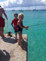 Fishing off the pier at Grand Case Beach.