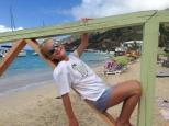 Hannah chilling at Grand Case Beach.