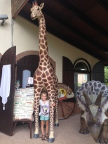 H and a giraffe - her favourite animal