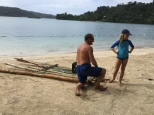 Repairing the raft.
