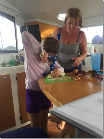 Hannah cutting onions